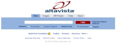 Old Timer Search Engine Altavista