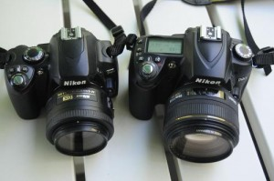 Nikon D40 and D90 side-by-side